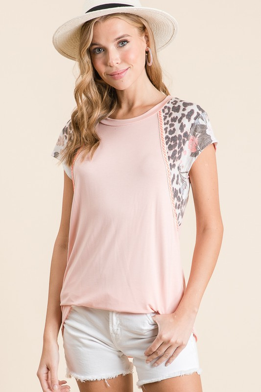 Leopard and Floral Blush Top