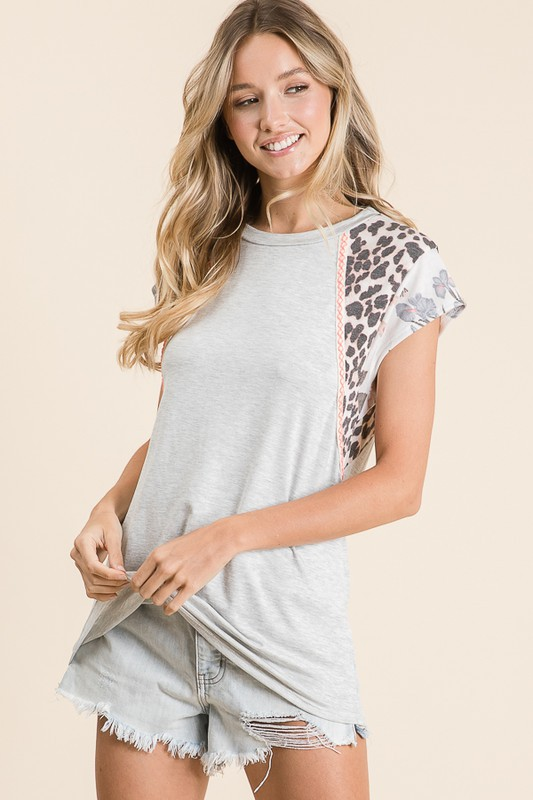 Leopard and Floral Grey Top