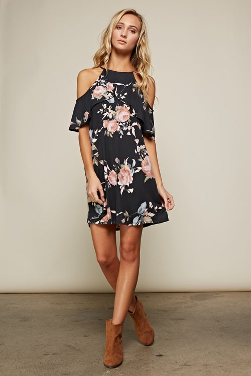 Floral Cold Shoulder Dress