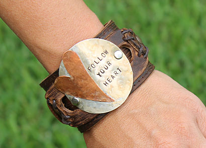 Leather Heart Cuff