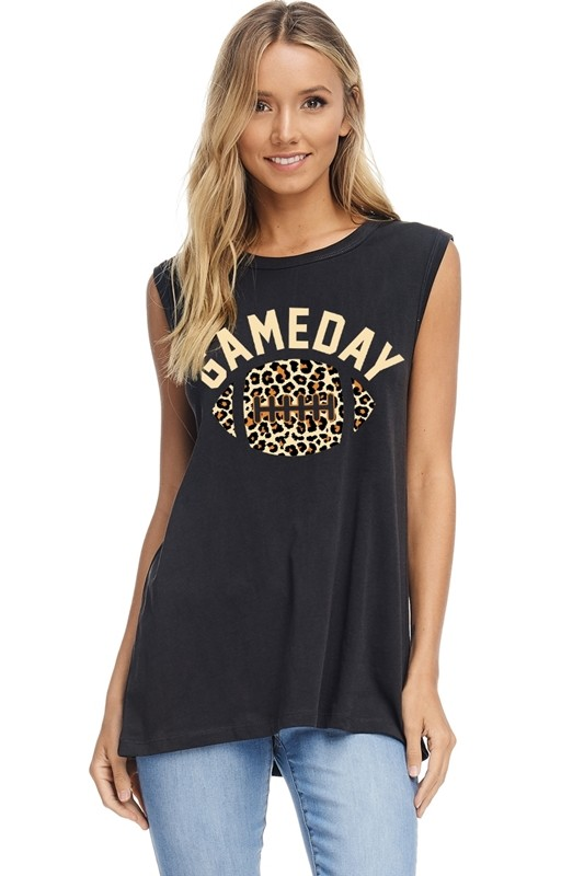 Gameday Leopard Black Tank