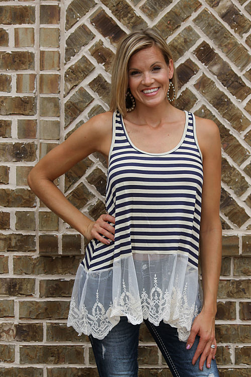 Striped Lace Tank