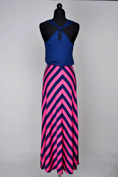 Pink and Navy Chevron Maxi Dress