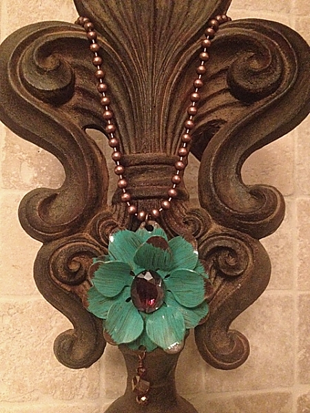 "Turquoise Flower 18"" Necklace"