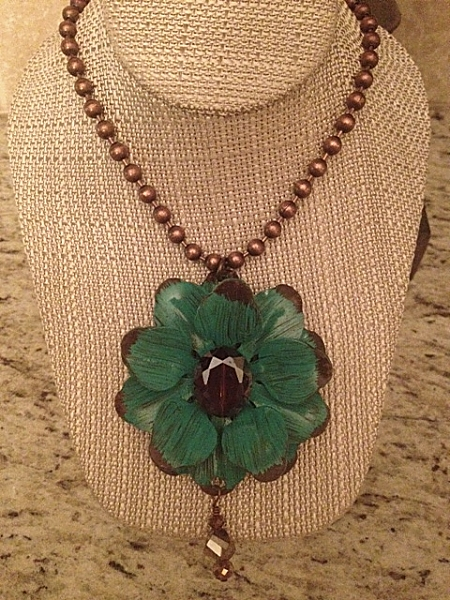 """Turquoise Flower 18"""" Necklace"""
